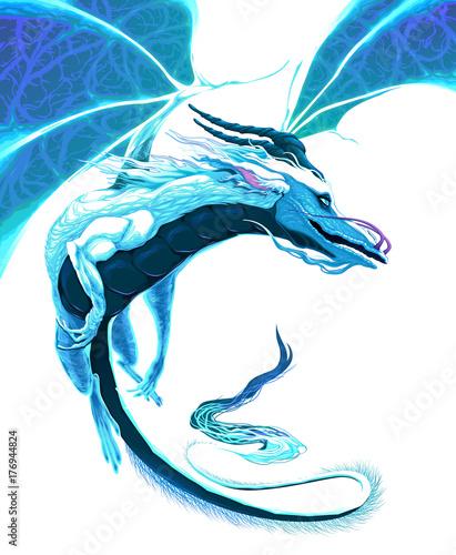 Staande foto Kinderkamer White dragon flying