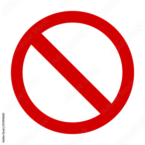 Photo Prohibition sign or no sign icon vector simple