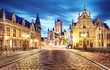 canvas print picture - Medieval Ghent at night. Belgium
