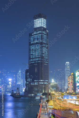 Staande foto London Construction site in Hong Kong city at night