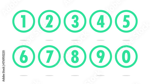 Fotomural Numbers in transparent circles icon vector