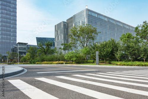 Fototapety, obrazy: empty road with modern buildings on background,shanghai,china.