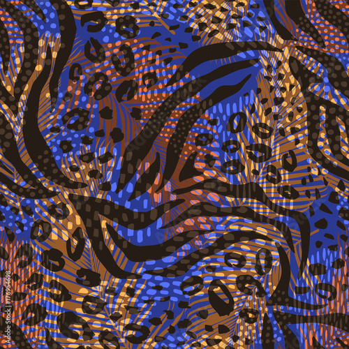 obraz PCV Abstract geometric seamless pattern with animal print. Trendy hand drawn textures.