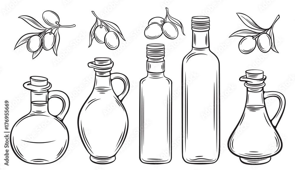 Fototapety, obrazy: olive oil and olives