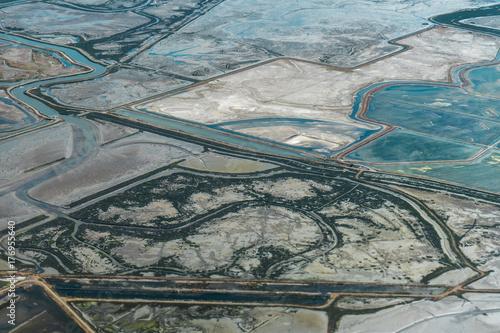 In de dag Groen blauw Aerial view of landscape with river