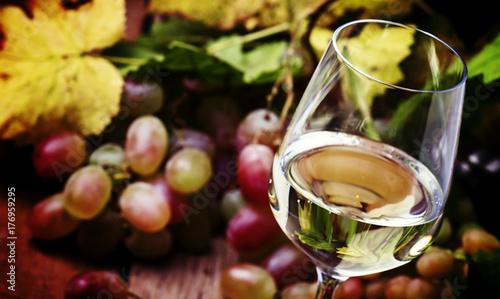Zdjęcie XXL Suchy biały wino w szkle, rocznika drewniany bakcground, selekcyjna ostrość