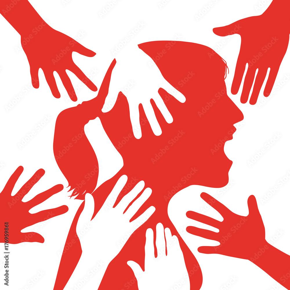 Fototapety, obrazy: harcèlement - sexuel - femme - travail - violence - abus - lutte - agression - victime - viol