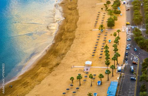 Tuinposter Canarische Eilanden Amazing view of beach las Teresitas with yellow sand. Location: Santa Cruz de Tenerife, Tenerife, Canary Islands. Artistic picture. Beauty world.