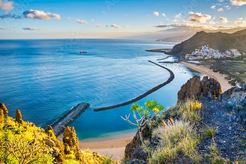 Deurstickers Canarische Eilanden Amazing view of beach las Teresitas with yellow sand. Location: Santa Cruz de Tenerife, Tenerife, Canary Islands. Artistic picture. Beauty world.