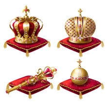 Golden Royal Crowns, Scepter With Gem Stone And Globus Cruciger Lying On  Red  Ceremonial Pillow With Tassels Realistic Vector Illustrations Set Isolated On White Background. Symbols Of Monarchy Power