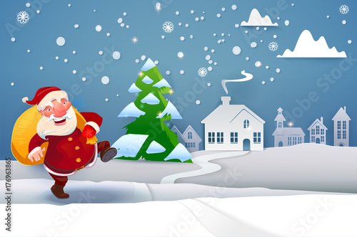 Winter Snow Urban Countryside Landscape with Santa Claus going to ...
