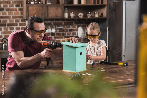 Fototapeta Daughter and father making birdhouse