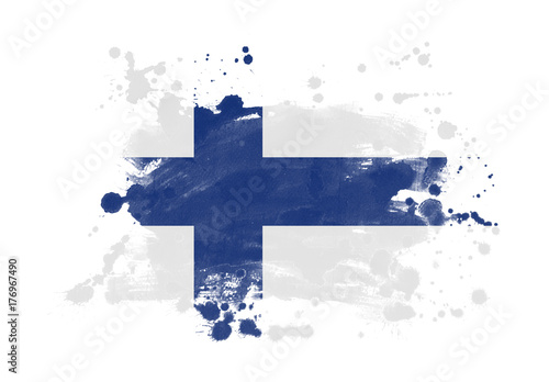 Finland flag grunge painted background Fototapeta