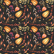 Seamless Autumn Pattern With Watercolor Pumpkins, Tree Branches, Rowan And Other Berries, Hand Painted On A Dark Background