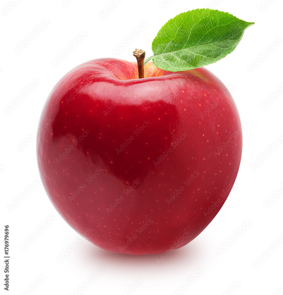 Fototapety, obrazy: Isolated apple. Whole red, pink apple fruit with leaf isolated on white, with clipping path