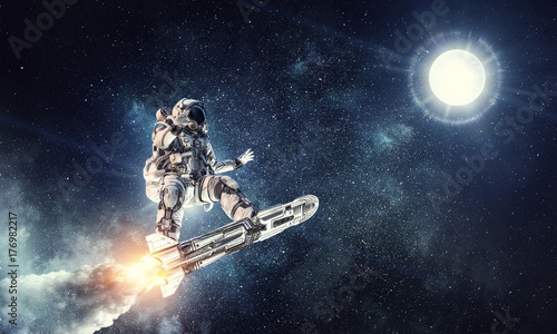 Tuinposter UFO Astronaut surfing dark sky. Mixed media