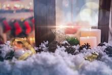 Christmas Decorations On Fake Snow