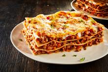 Tasty Lasagne Served On Plate