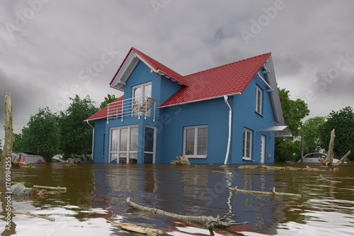 Valokuva 3d render of a flooding blue house - force of nature