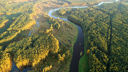 Plakat Aerial landscape of natural river