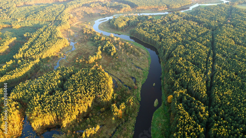 Montage in der Fensternische Khaki Aerial landscape of natural river