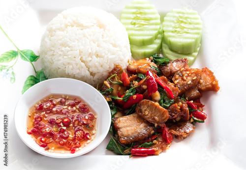 Thailand food ,Stir fry Kai Land and crispy pork - Buy this stock