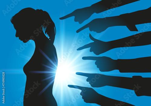 harcèlement - moral - montrer du doigt - fille - réseau - réseaux sociaux - jeun Tapéta, Fotótapéta