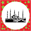 black 8-bit The Blue Mosque, (Sultanahmet Camii), Istanbul, Turkey vector illustration isolated on white background
