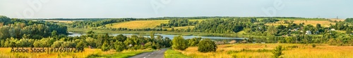 Papiers peints Vignoble Panorama of Glazovo, a typical village on the Central Russian Upland, Kursk region of Russia