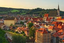 Morning Cityscape With Red Tile Roofs. Church Of Saint Vitus- UNESCO World Heritage Site. Cesky Krumlov (Krumau), Czech Republic