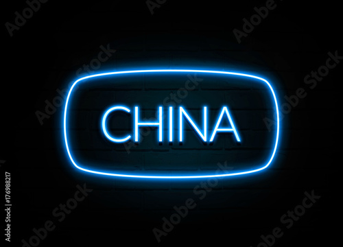 Foto  China  - colorful Neon Sign on brickwall