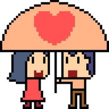 Vector Pixel Art Couple