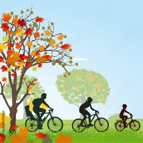 Fototapeta wycieczka rowerowa na tle przyrody