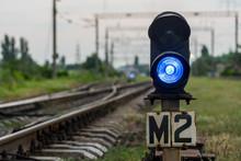 Blue Light On The Railway Semaphore