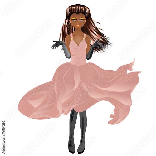 Aluminium Prints Magic world Afro American Girl in Dress