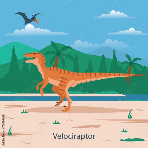 Photo  Velociraptor. Prehistoric animal
