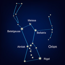 Constellation Orion Hunter Against The Sky.  Illustration
