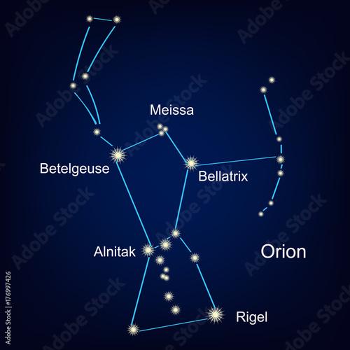 Fotomural constellation orion hunter against the sky.  illustration