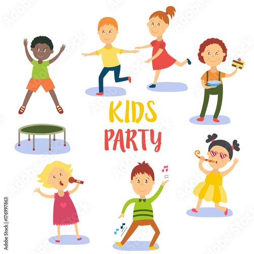 kids children boys and girls having fun at birthday party flat