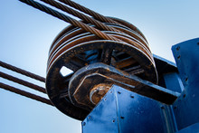 Three Cable Metal Pulley Wheel With Cables.