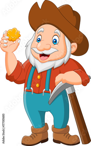 cartoon gold prospector isolated on white background Tablou Canvas