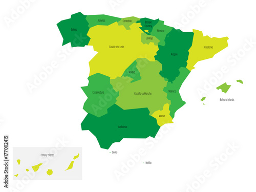 Spanish map devided to 17 administrative autonomous communities. Simple flat vector map in shades of green.