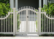 White Wooden Gate And Picket F...