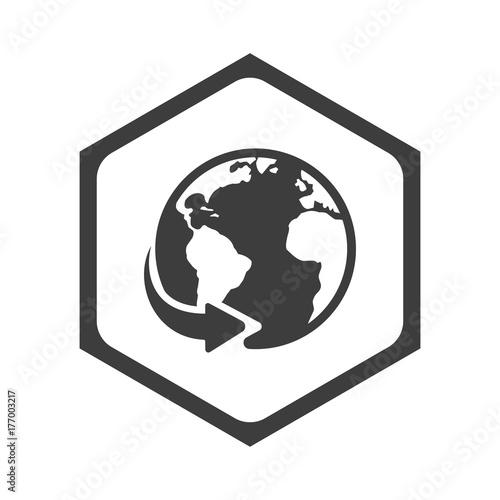 Fototapeta ikona sześciobok z zaokrąglonymi wewnątrz krawędziami obraz