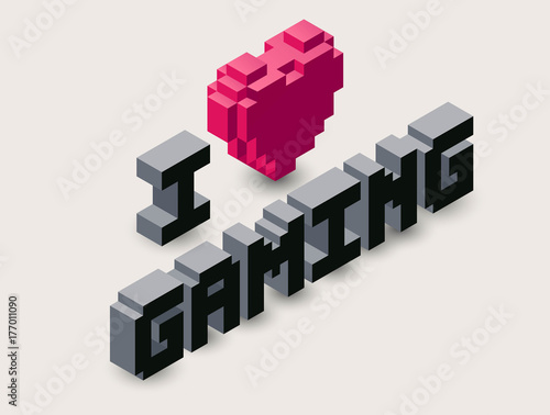 Vector 3d gaming pixel icon Canvas Print