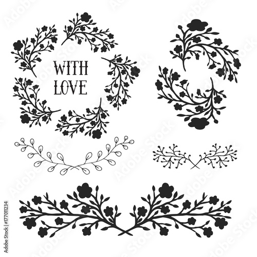 Floral Design Elements Set Frames And Borders Vector Decorative