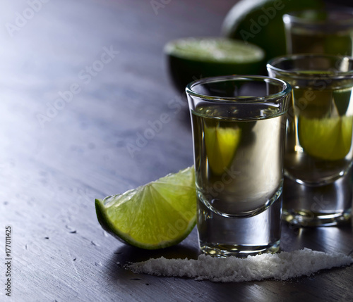 Tequila with lime and salt