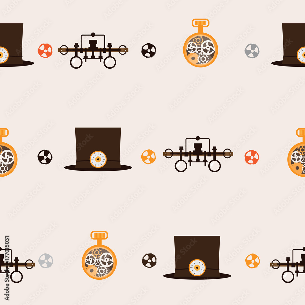 Seamless square pattern with steampunk accessories like old fashioned goggles, hat with clocks and old clock with gears on beige background.