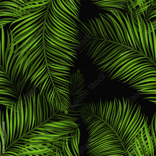 Beautiful Tropical Summer Seamless Pattern Realistic Palm Leaves Brigh Green Color On Black Background
