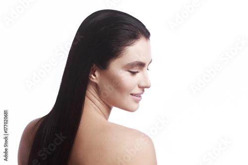 Küchenrückwand aus Glas mit Foto womenART portrait of a girl in profile on a white background